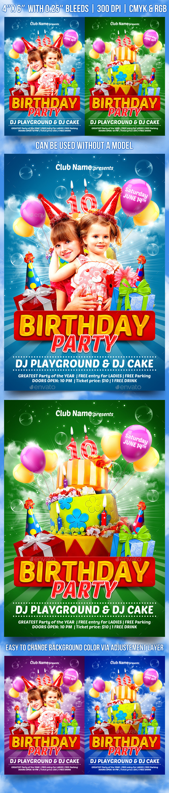 GraphicRiver Kids Birthday Party Flyer Template 11080997