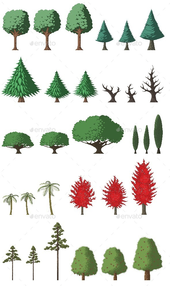 GraphicRiver Pixel Tree Set 11082076