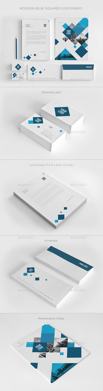 GraphicRiver Modern Blue Squares Stationery 11082151