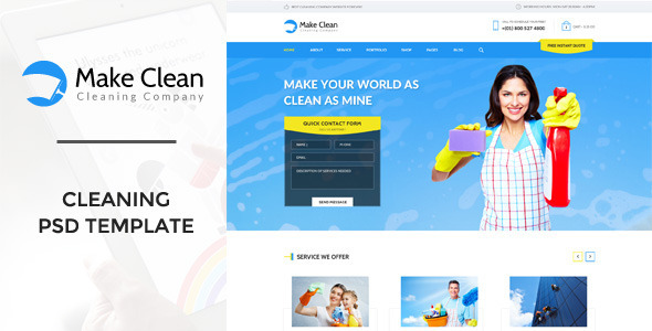 ThemeForest Make Clean Cleaning Company PSD Template 11082957