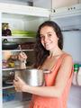 hungry girl with pan near fridge - PhotoDune Item for Sale