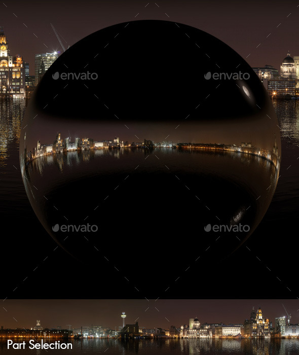Sea Reflections Night City Skyline HDRI