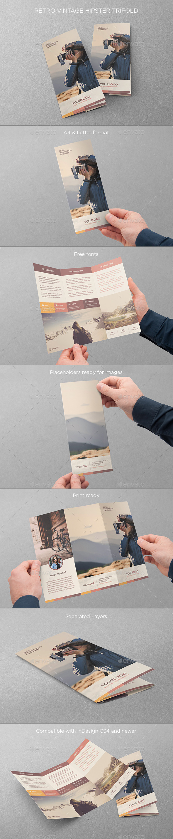 GraphicRiver Retro Vintage Hipster Trifold 11084095