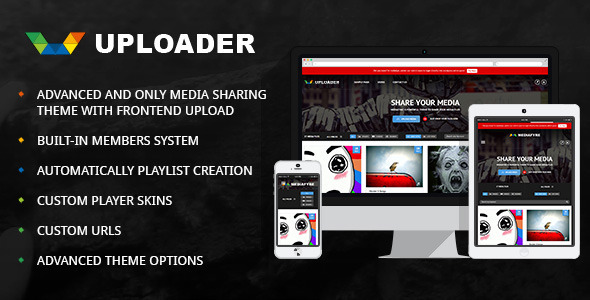 ThemeForest Uploader Advanced Media Sharing Theme 9760587