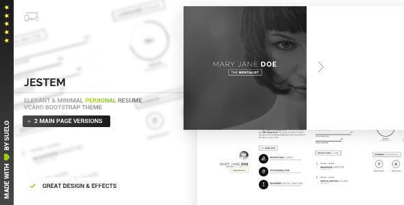 ThemeForest Jestem Elegant & Minimal Resume vCard Theme 10846042