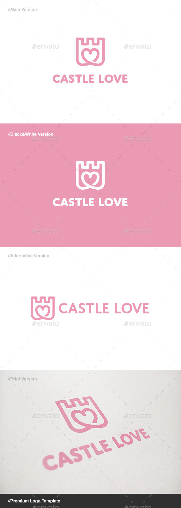 GraphicRiver Castle Love Logo 11085437