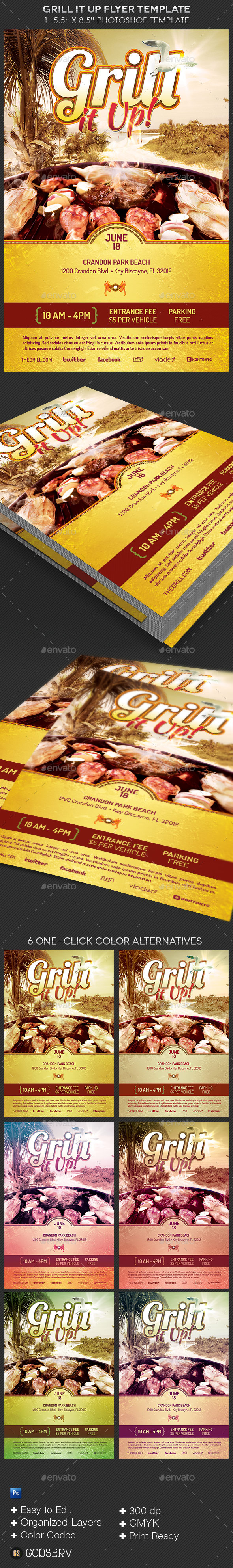 Grill It Up Flyer Template - Events Flyers