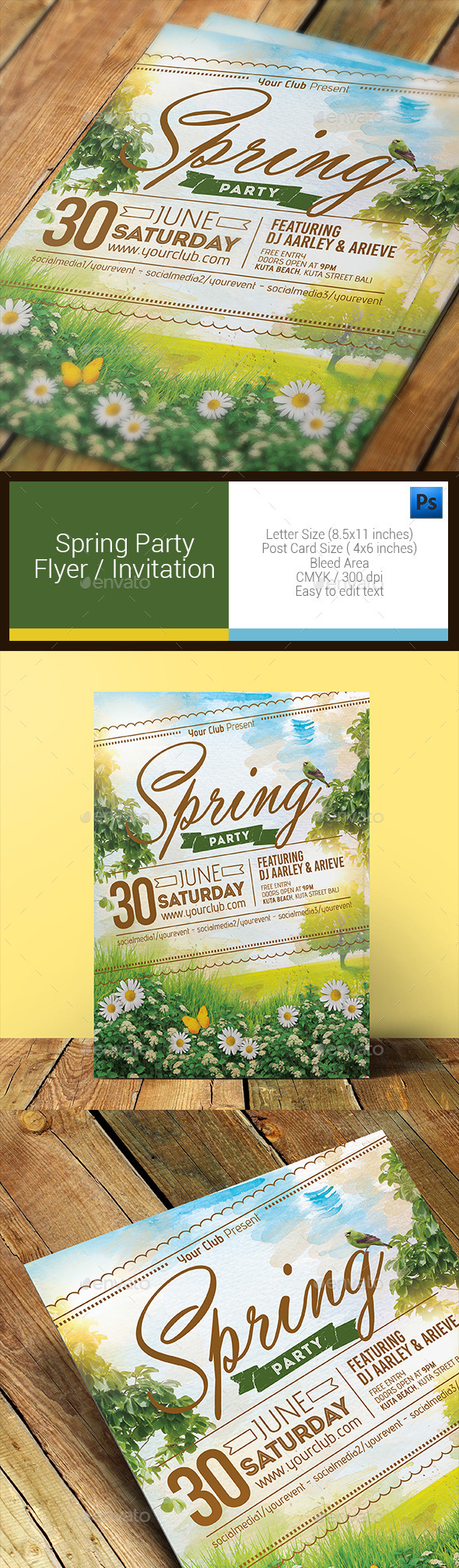 GraphicRiver Spring Party Flyer Invitation 11086093