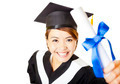 top view happy young woman graduating holding diploma - PhotoDune Item for Sale