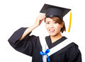 confused young woman graduating holding diploma and looking - PhotoDune Item for Sale