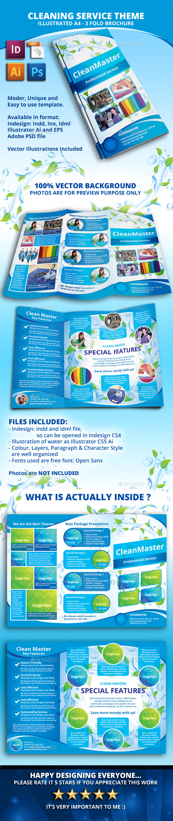 GraphicRiver Eco Cleaning Service A4 Tri fold Brochure 11086320