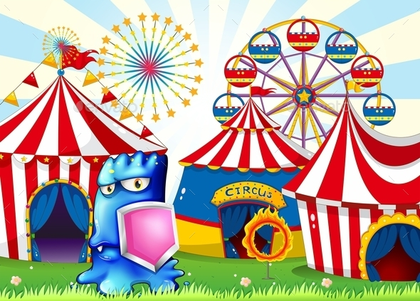 GraphicRiver A Carnival with a Blue Monster Holding a Shield 11086424