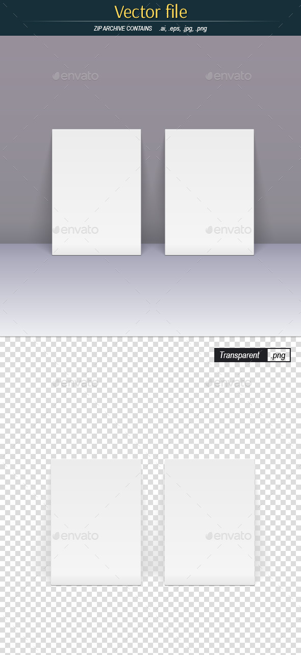 GraphicRiver White Posters Standing Near the Wall 11086793