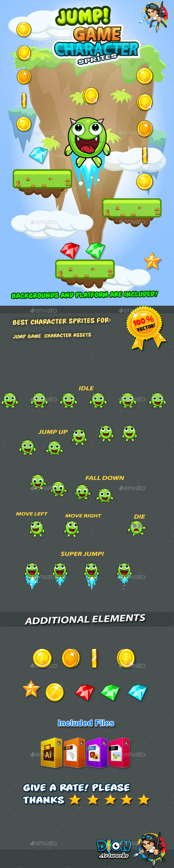 GraphicRiver Jump Monster Character Sprites 10 11086989