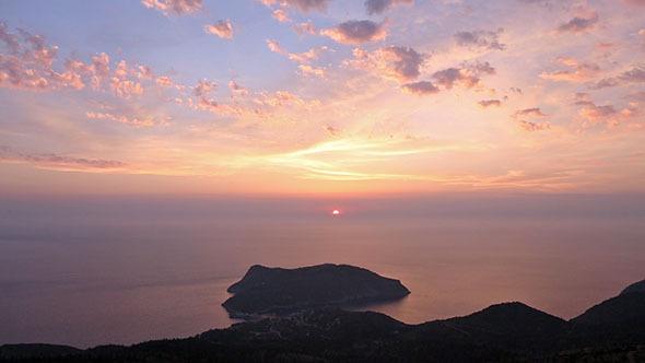 Sunset View of Assos Peninsula Greece Kefalonia