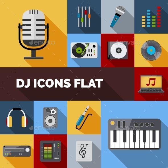 GraphicRiver Dj Icons Flat Set 11087650