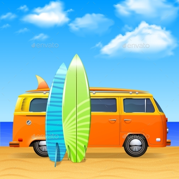 GraphicRiver Bus With Surf Boards 11087745