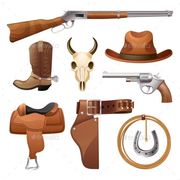 GraphicRiver Cowboy Elements Set 11087755