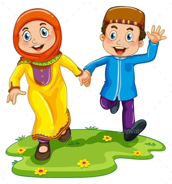 GraphicRiver Muslim Boy and Girl 11087792