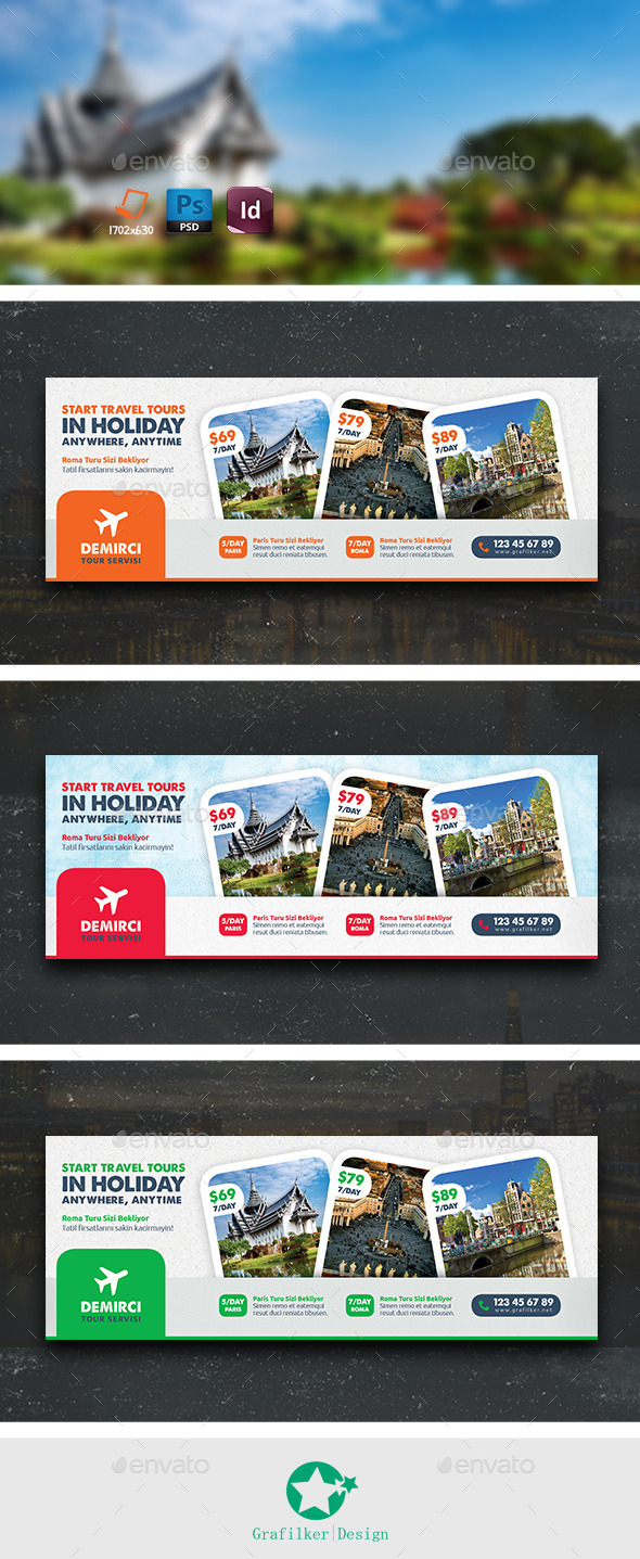 GraphicRiver Travel Tour Cover Templates 9619293