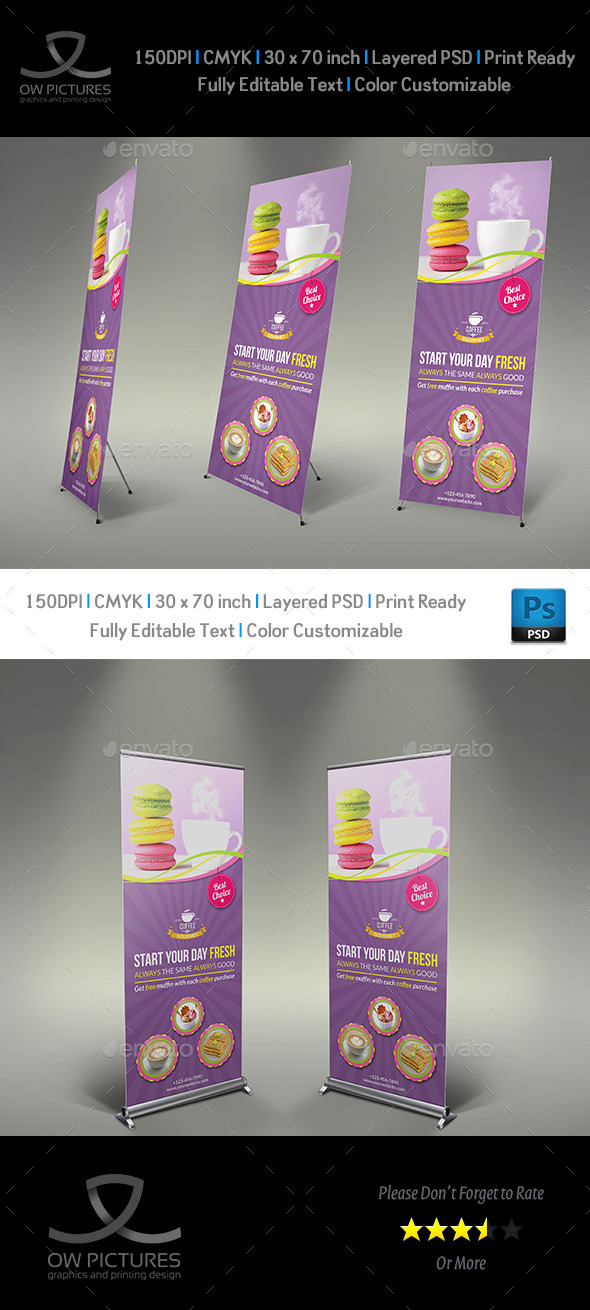 GraphicRiver Cafe and Restaurant Roll Up Signage Template Vol.2 11087835