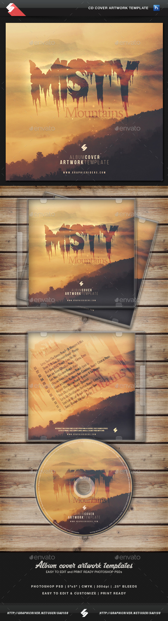 GraphicRiver Misty Mountains CD Cover Artwork Template 11088121