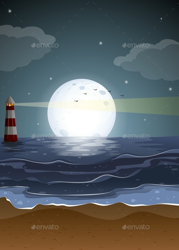 GraphicRiver Fullmoon and Beach 11088309