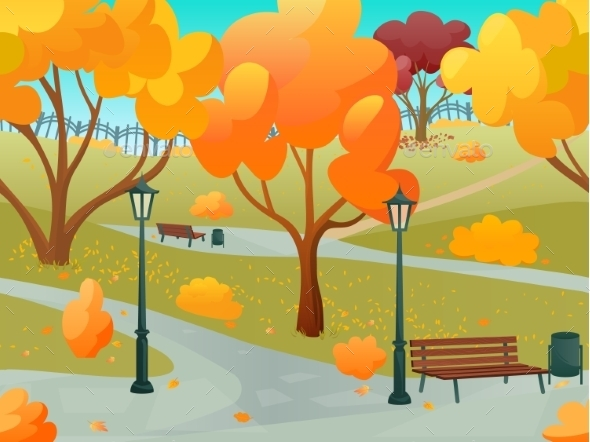GraphicRiver Autumn Park Landscape 11088329