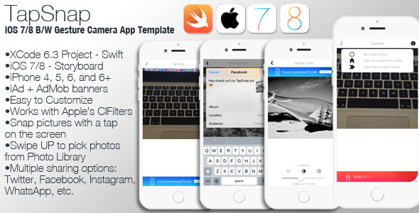 CodeCanyon TapSnap iOS 7 8 B W Gesture Camera App Swift 10644072