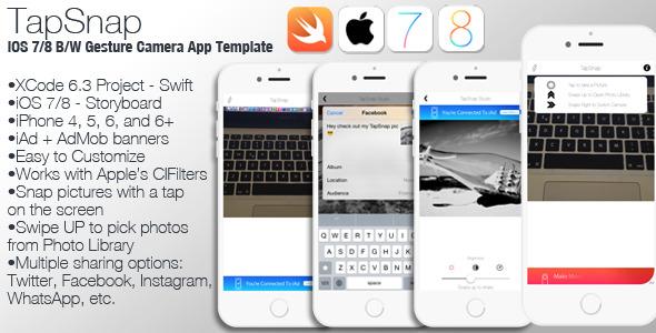 CodeCanyon TapSnap iOS 7 8 B W Gesture Camera App Swift 10644072
