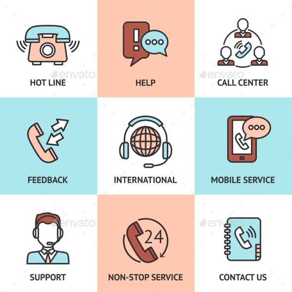 GraphicRiver Call Center Design Concept Set 11088425