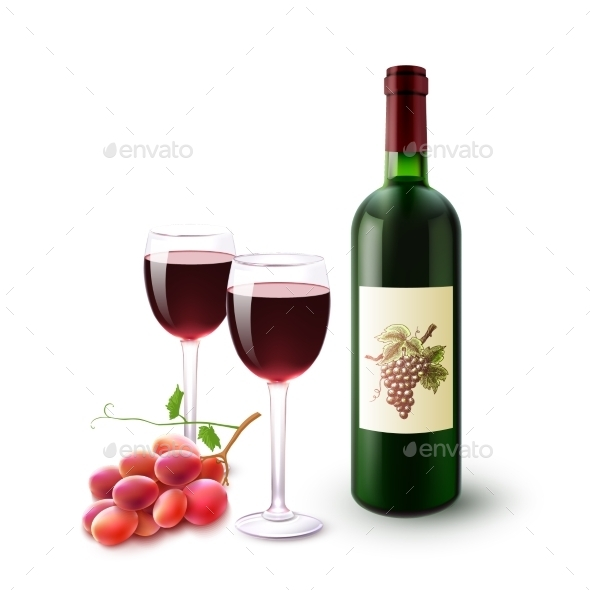 GraphicRiver Red Wine Bottle Glasses And Grapes 11088541