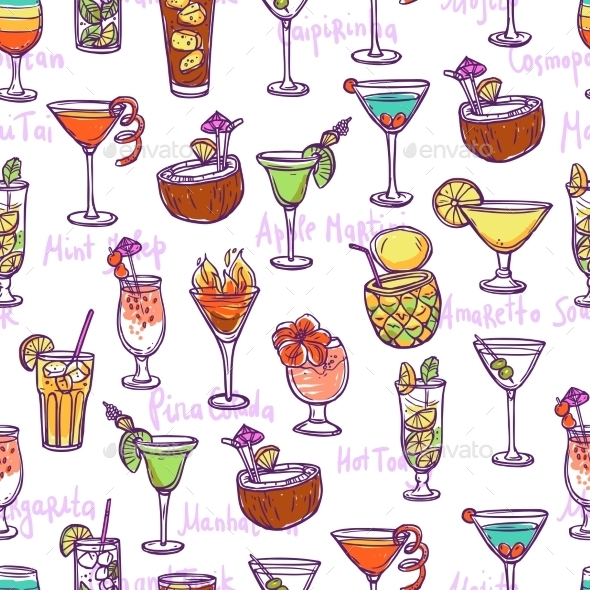 GraphicRiver Cocktail Seamless Pattern 11088561