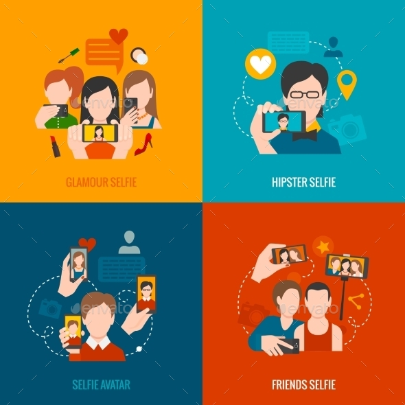 GraphicRiver Selfie Flat Set 11088845