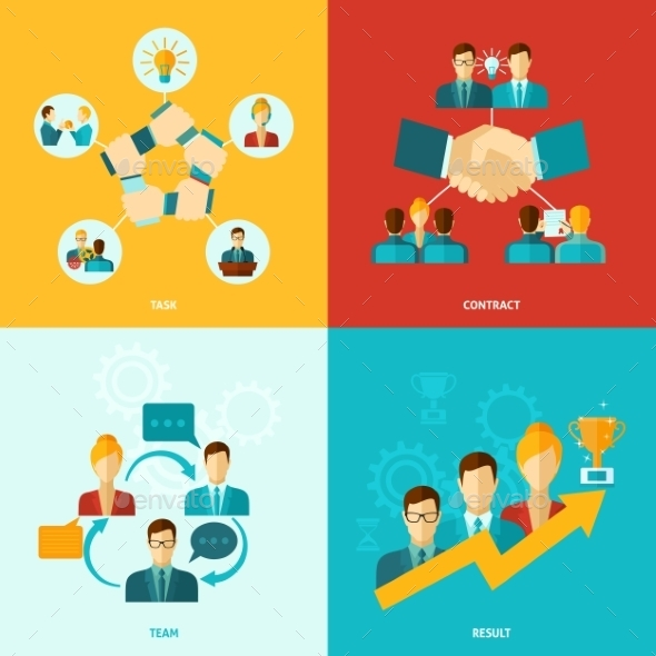GraphicRiver Teamwork Icons Flat 11088860