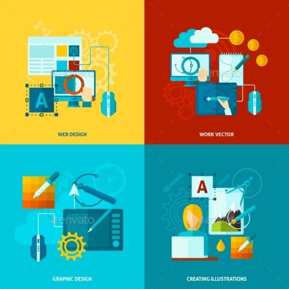 GraphicRiver Graphic Design Icons Flat 11088867