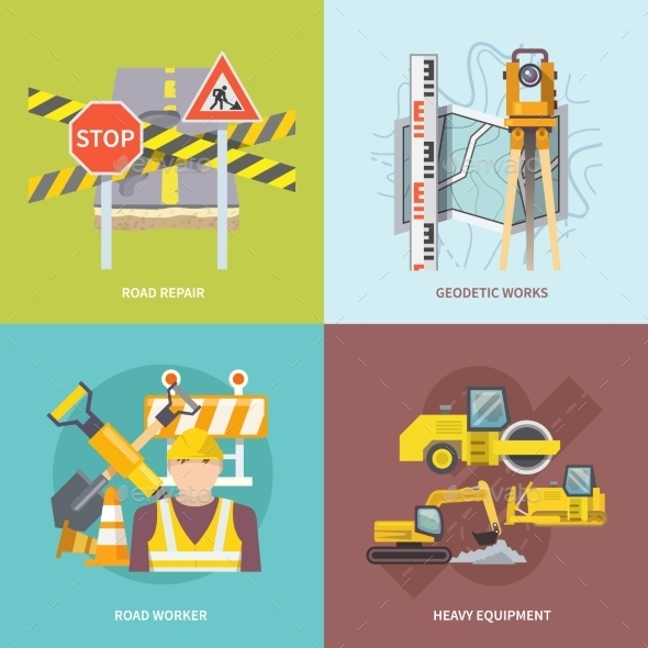GraphicRiver Road Worker Flat 11088877