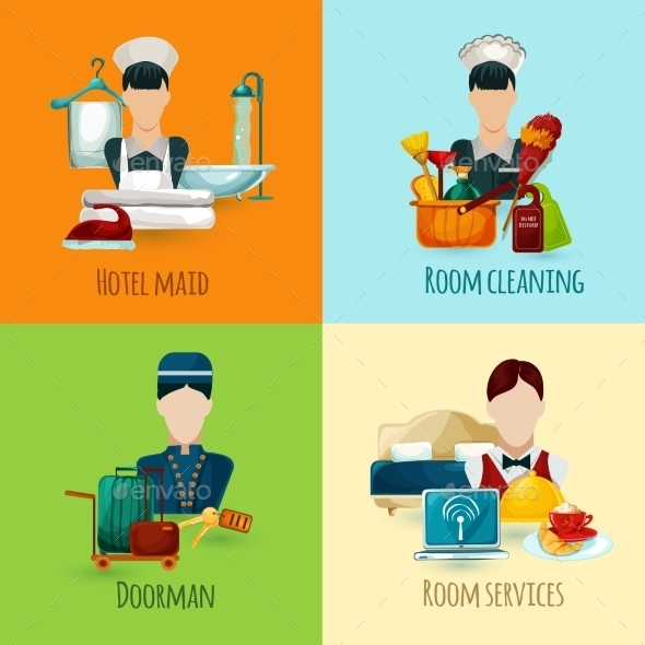 GraphicRiver Hotel Maid Set 11088889