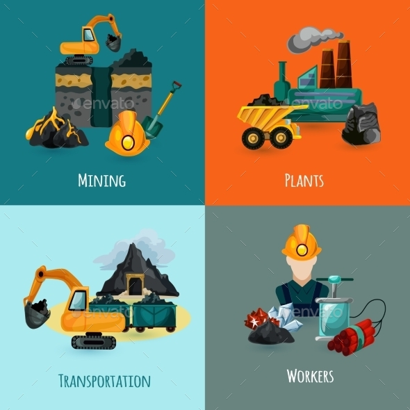 GraphicRiver Mining Icons Set 11088895