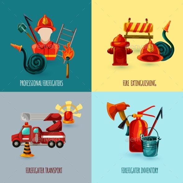 GraphicRiver Firefighter Design Set 11088901