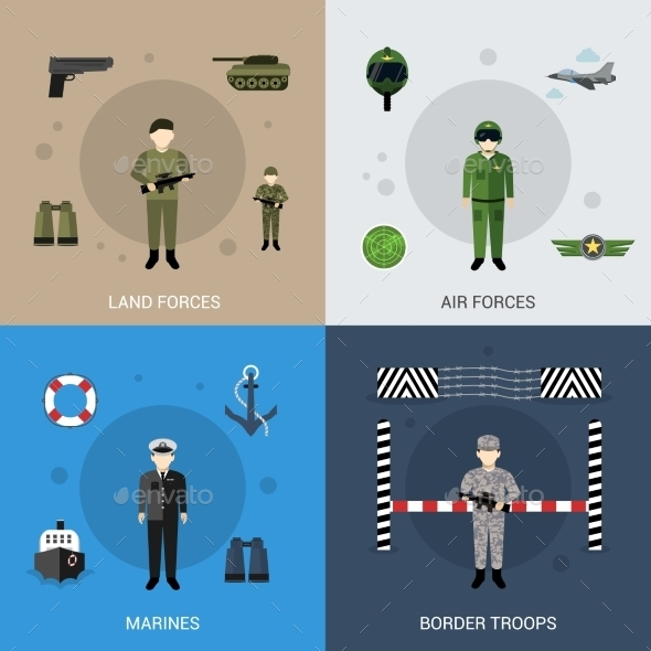 GraphicRiver Military Flat Set 11088920
