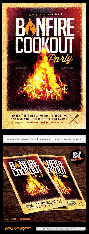 GraphicRiver Bonfire Cookout Party Flyer 11088951