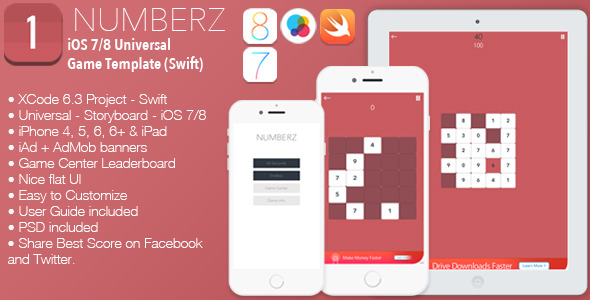 CodeCanyon NUMBERZ Full iOS 7 8 Universal Game Template Swift 10430248