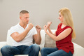 Couple On Sofa Fighting With Each Other - PhotoDune Item for Sale