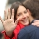 Happy woman showing engagement ring after proposal - PhotoDune Item for Sale