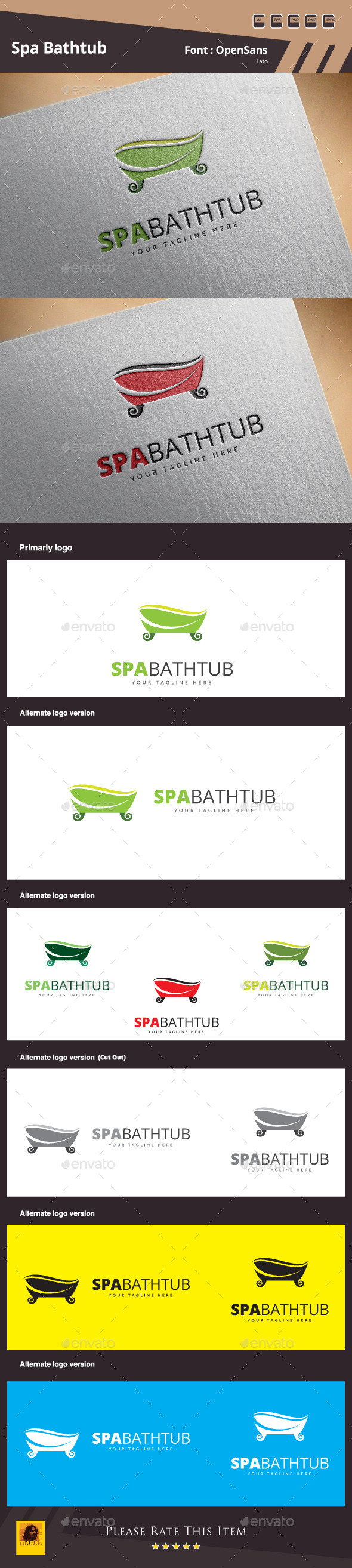 GraphicRiver Spa Bathtub Logo Template 11089596