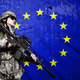 soldier on European Union flag background - PhotoDune Item for Sale