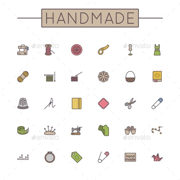 GraphicRiver Vector Colored Handmade Line Icons 11089869