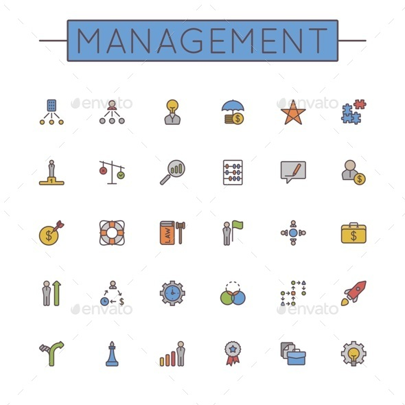 GraphicRiver Vector Colored Management Line Icons 11089874
