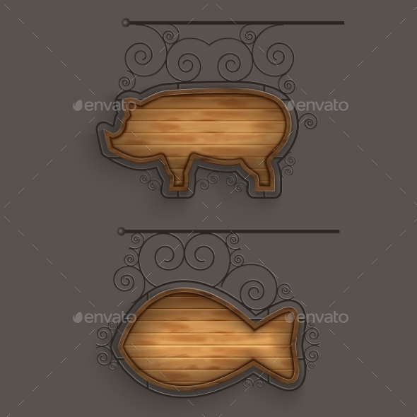 GraphicRiver Set of Wooden Signboards 11090649